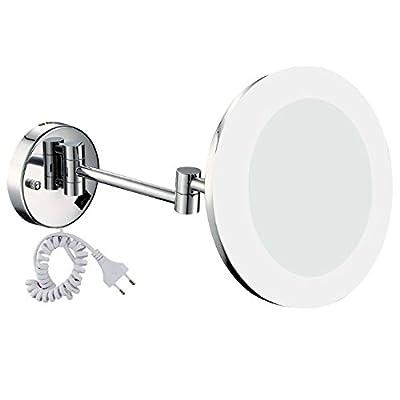 GuRun Badspiegel mit Beleuchtung 5-Fach/7x/10x Vergroesserung,durchmesser 20cm, Tageslicht LEDs, M1806D