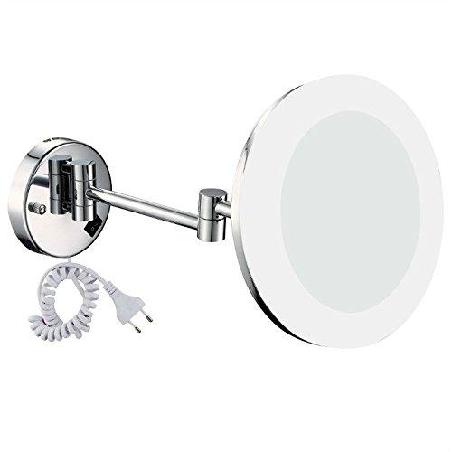 GuRun Badspiegel mit Beleuchtung 10 Fach Vergroesserung,Durchmesser 20cm, Tageslicht LEDs,verchromt M1806D(20CM,10X)