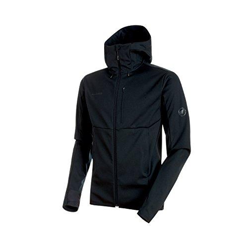 Mammut, Herren Softshell-Jacke Ultimate V mit Kapuze, schwarz (Black-Black), XL