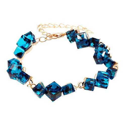 Uloveido Frauen Blau Glas Stretch Metall Link Armreif für Mädchen mit verlängerten Kette GR126