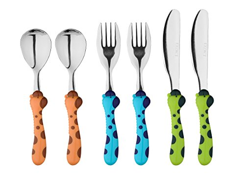 Exzact Stainless Steel 6 PCS Children's Cutlery Set - 2 x Forks, 2 x Safe dinner knife, 2 x Dinner Spoons (Giraffe x 6 PCS)