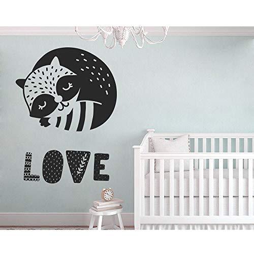 YuanMinglu Liebe Wand Applique niedlichen Waschbären Kinderzimmer Tier Wandaufkleber Baby Junge Mädchen Schlafzimmer entfernbare Vinyl Kunst Aufkleber nordischen Stil 42x56cm
