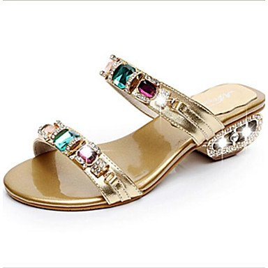 RUGAI-UE Estate Moda Donna Sandali Casual PU Scarpe comfort tacchi a piedi all'aperto,Arrossendo Pink,34 Gold