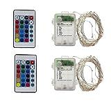 2 x Multi Farbwechsel LED Lichterketten Batterie Betrieb Lichterkette mit Fernbedienung,50er Micro Silberdraht (Mehrfarbig)
