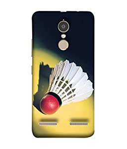 Fuson Designer Back Case Cover for Lenovo K6 Power (Red Hot White Feathers Badminton)