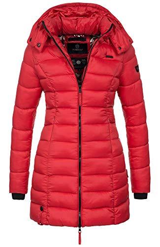 Marikoo Herbst Winter Übergangs Steppmantel Jacke Mantel gesteppt B603 [B603-Rot-Gr.S] (Gesteppte Mantel Jacke)