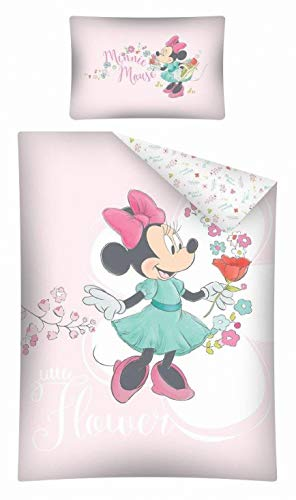 Kinderbettwäsche Disney III 2-teilig 100{a2fd37559bbb448f98212089070be3d1aa2aadd8b52737823cce52234fc61166} Baumwolle 40x60 + 100x135 cm mit Reißverschluss (Minnie Mouse rosa)