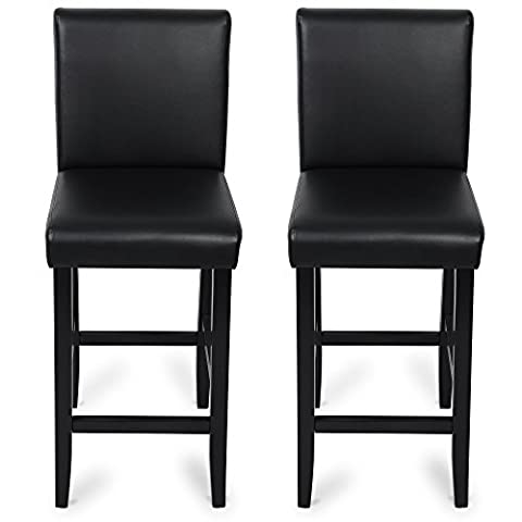 Woltu BH21sz-2 2 x Faux Leather Bar Stools Black Wood Bar Stools/Chairs with High Backs and Luxury Padded Seat