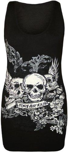 WearAll - Damen Totenkopf 'Forever Young' Druck Racerback Ärmellos Lang Tank Top - Schwarz - 40-42 (Schwarze Ärmellose T-shirt)