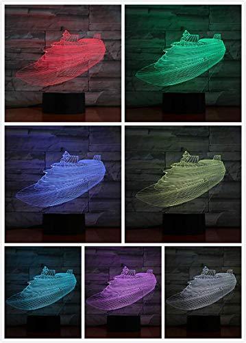 Led Nachtlicht Kriegsschiff Dekoration 3D Illusion Militärschiff Kinder Kinder Nachtlicht Tischlampe Flugzeugträger Schlafzimmer