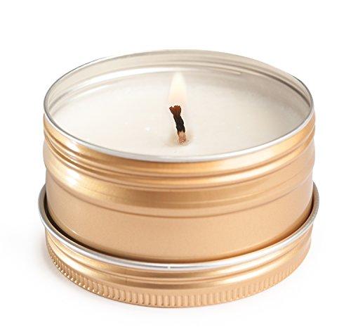 Deluxe Aroma Massagekerze Herzerwärmend, pflegendes Massagewachs in goldener Dose, Massage Duftkerze aus natürlichen Soja & Kokosölen - 5