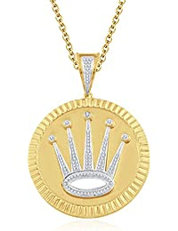 "Silvernshine 1.2 Ct Round D/VVS1 Diamond Crown Locket Pendant 18"" Chain In 14K Yellow Gold Fn"