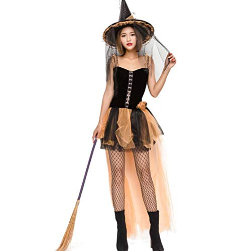 AIYA Halloween Hexen Mesh Cosplay Kostüm gelb sexy Hexenspiel Flauschigen Rock