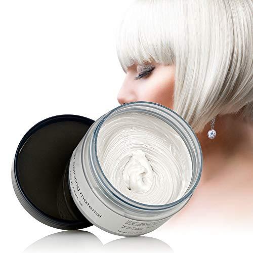 Blanco Barro de Pelo, Cera para el cabello, MS.DEAR Peinado temporal Cera tintórea Crema de barro Pomadas...
