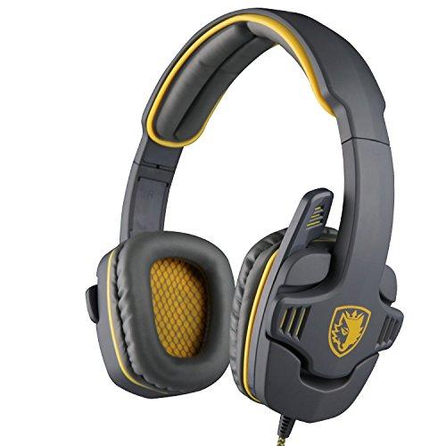 SADES SA 708 3,5-mm-Stereo-Surround-Sound Gaming Headset PC-Stirnband-Kopfhörer mit Mikrophon Over-the-Ear-Lautstärkeregler(Gelb)