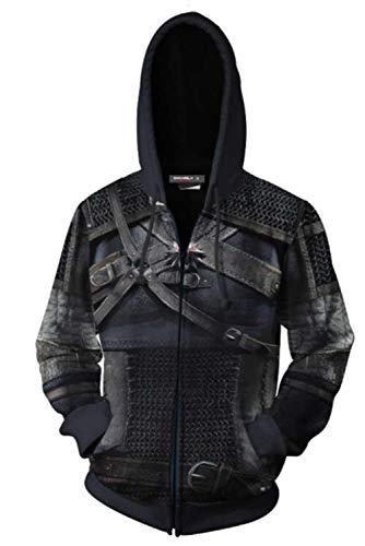 MingoTor Herren Damen Geralt The Witcher 3: Wild Hunt Zip Up Kapuzenpullover Reißverschluss Sweatshirt Pullover Hoodie 3D Unisex