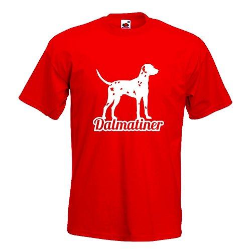 KIWISTAR - Dalmatiner mit Name Hunderasse T-Shirt in 15 verschiedenen Farben - Herren Funshirt bedruckt Design Sprüche Spruch Motive Oberteil Baumwolle Print Größe S M L XL XXL Rot