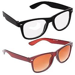 Criba Stylish Brown and White Unisex UV400 Wayfarer Sunglass