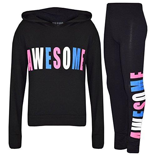 10 Awesome Kostüm Top - A2Z 4 Kids® Mädchen Top Kinder Designer Awesome Aufdruck - Awesome Hooded Set Black 9-10