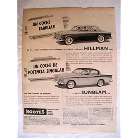 Antigua Hoja Publicidad Revista - Advertising Magazine Old Sheet : COCHES HILLMAN, SUNBEAM. Año 1959