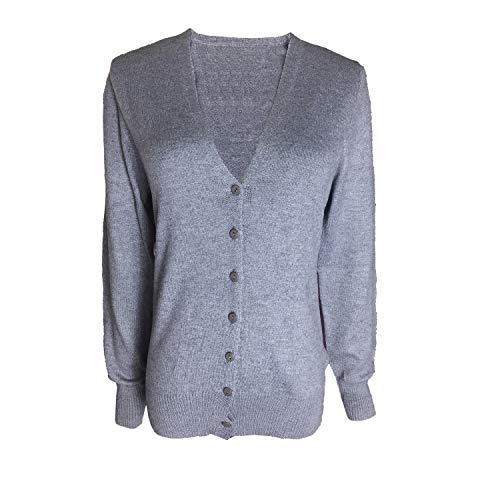 HIDOUYAL Damen Strickjacke Ladies Lightweight V Cardigan (Dunkelgrau, L) Lightweight V-neck Sweatshirt