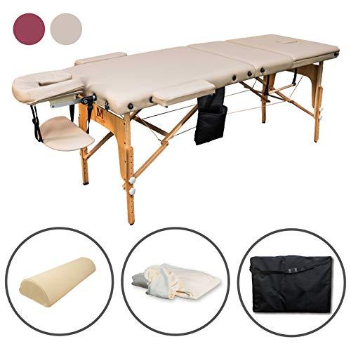 Massunda All Incl | Massage-Liege klappbar und höhenverstellbar | Voll-Holz | Mobiler Kosmetik-Tisch inkl. Frotteebezug, Arm- und Rückenlehne, Nackenkissen, ergonomische Kopfstütze (Créme/beige)