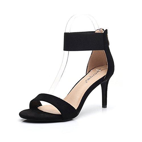 Tacco alto sandali con tacco alto sandali donne belle con velluto punta esposta black