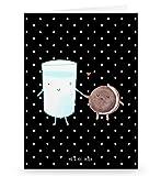 Mr. & Mrs. Panda Grußkarte Milch & Keks - 100% handmade in Norddeutschland - Einladung, Einladung Frühstück, , romantisch, Grusskarte, Pappe, Karte, Keks, Milch, Kekse, Papier, Cookie
