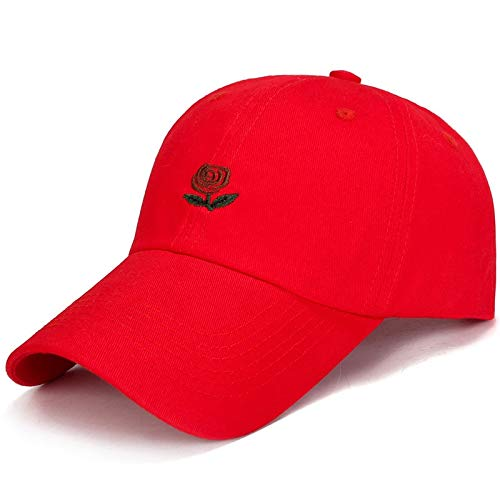 f1f6b9eb Volcaps, Rose Embroidered Baseball Cap Spring Summer Peaked Cap For Women  Men Couple Hat Solid Snapback Cap