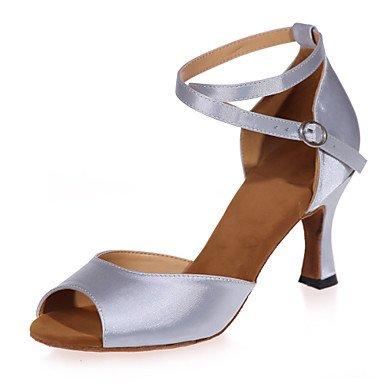 XIAMUO Nicht anpassbar - Die Frauen tanzen Schuhe Satin Satin Latin Sandalen entzündete Ferse Praxis/Innen-/PerformanceBlack/Braun/Rot/Silber/ Silber