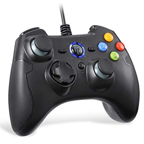 [Wired PS3 PC-Controller] EasySMX Controller Joystick für Spiele mit Kabel mit Dual-Vibration, Turbo und Fronttasten für Windows/Android / PS3 / TV Box (Schwarz)