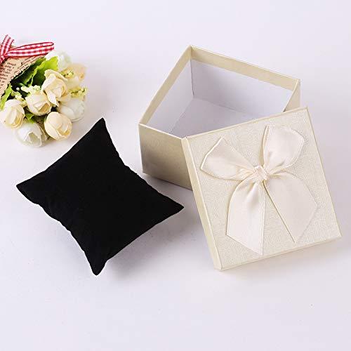 SPHHZLLL Bowknot-Gitter-Würfel-Papier-Schmuckkästchen-Uhrenboxen mit schwarzer Kleiner Kissen-Geschenk-Verpackung -