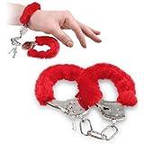 WOBBOX Furry Fuzzy Handcuffs Soft Metal Handcuffs Bachelorette Night Party Handcuffs With Keys(Red)