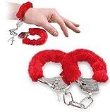 #2: WOBBOX Furry Fuzzy Handcuffs Soft Metal Handcuffs Bachelorette Night Party Handcuffs with Keys(Red)