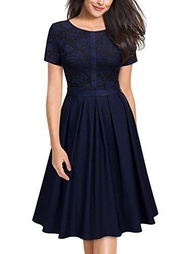 Miusol-Damen-Elegant-Abendkleid-Kurzarm-Cocktailkleid-Vintag-Knielang-Party-Kleid-Dunkelblau-GrM