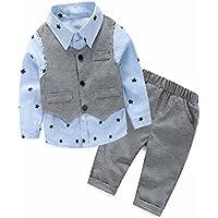 Yistu 3pcs neugeborenes Baby Boy grau star Weste + lange Hose + Hemd Kleidung Sets