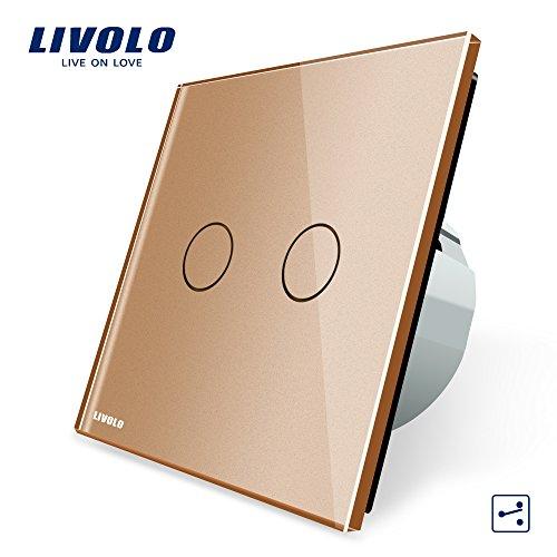 LIVOLO Gold Wechselschalter/Kreuzschalter mit LED Anzeige Licht Platte aus Kristallglas Touch Ein/Aus Licht Schalter,2 Fach 2 Weg,VL-C702S-13-A -