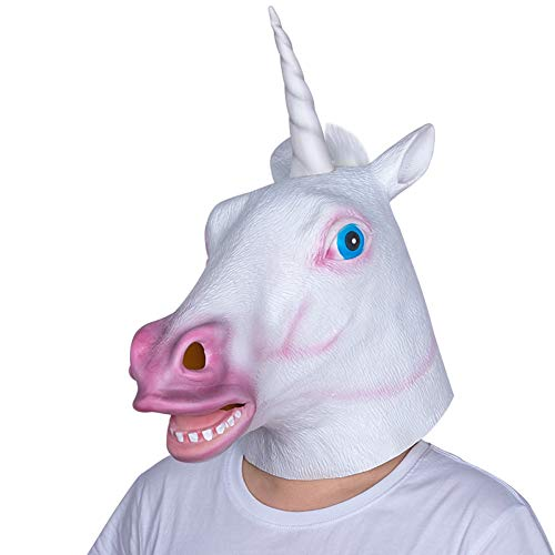 FLTVSN Halloween Maske Einhorn Pferd Maske Halloween gruselig Party Deluxe Neuheit Kostüm Cosplay Rep Latex gruselig Vollgesichtsmaske