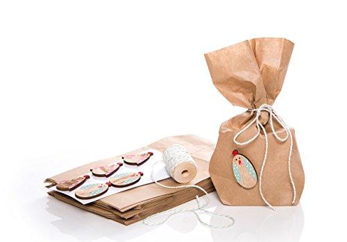 Confezione 10volte affettuosa a Pasqua-L' alternativa per polli Oster nido-con sacchetti in carta, legno ei per incollare e nastro in cotone