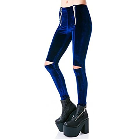 Purfeel da donna Boyfriend Destory Vintage vita alta Leggings pantaloni