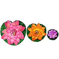 AiRoyal Water Floating Foam Lotus Flower for Pond Decor, set of 3(10cm,17cm,28cm)