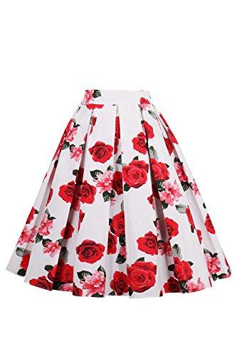 Damen A Linie Rock Midi Rock Blumen Kleid mit Tellerrock Rose Knielang Rot S (Rose Blumen-rock)