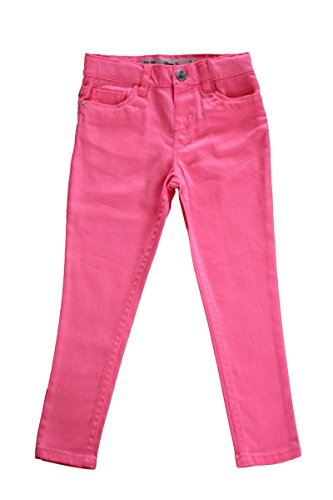 Girls Plain Skinny Jeans Cotton Trousers Turquoise Blue Yellow Pink Age 3-13 Years (10-11 Years, Pink)
