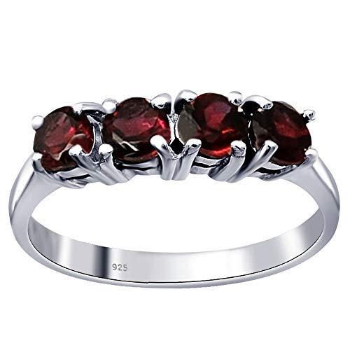 Orchid Jewelry Granat Ring für Damen/Herren, mit Granat besetzt, Ehering für immer (englischsprachig), Größe N (1,36 Karat)