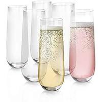 [6-Pack, 280ml/9.5 onces] Design·Master-Verres à flûte de Champagne sans Pied, Verres de Boisson sans Plomb, Verres à…