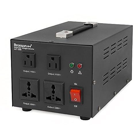 Bronson++ AVT 1500 - 110 / 120 Volts Transformateur USA Convertisseur de Tension - 1500 Watts - Augmentation / Diminution Noyau Torique - Bronson 110V 120V 1500W
