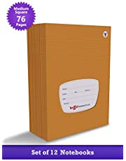 TARGET PUBLICATIONS Medium Square Box Notebooks for Kids | 76 Ruled Pages | Soft Bound Cover | Maths Practice Books | 18 cm x 24 cm Approx | Set of 12 | GSM 58
