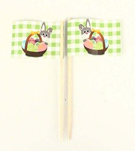 Party-Picker Flagge Osterhase Korb Eier Ostern Hase Papierfähnchen in Profiqualität 50 Stück Beutel Offsetdruck Riesenauswahl aus eigener Herstellung