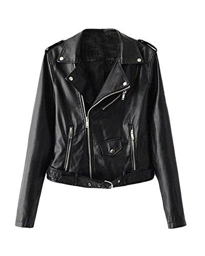 SaiDeng Donna Punk Stile Giacca Moto Corto In Pelle Pu Cappotto Cerniera Jacket Nero L