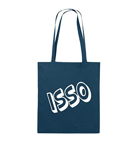 Comedy Bags - ISSO - COMIC SCHIEF - Jutebeutel - lange Henkel - 38x42cm - Farbe: Schwarz / Silber Navy / Weiss